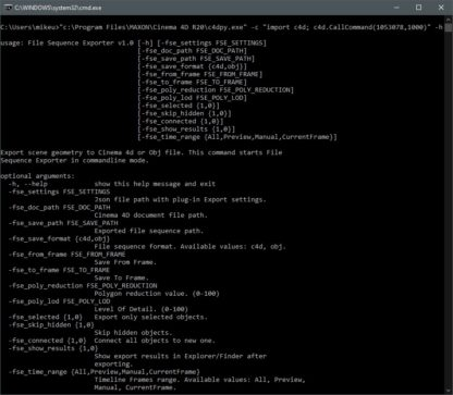 File Sequence Exporter. Command Line Mode