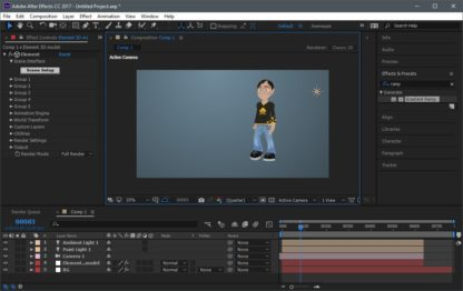 Model animated in After Effects
