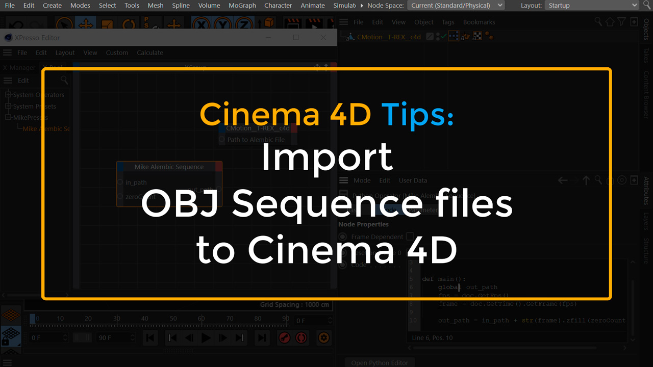 Import OBJ Sequence to Cinema 4D