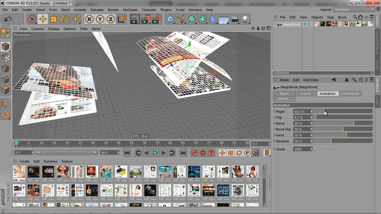 Creating magazine or book in Cinema 4D with Magic Book plugin